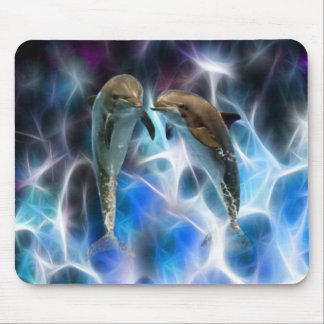 Dolphins and fractal crystals mouse pad