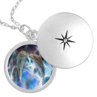 Dolphins and fractal crystals pendant