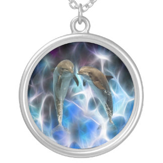 Dolphins and fractal crystals necklaces