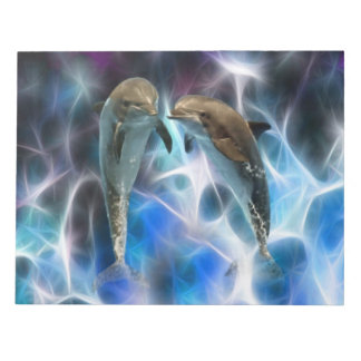 Dolphins and fractal crystals memo note pads