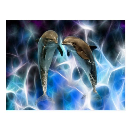 Dolphins and fractal crystals postcard