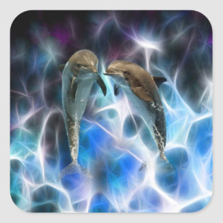 Dolphins and fractal crystals square sticker