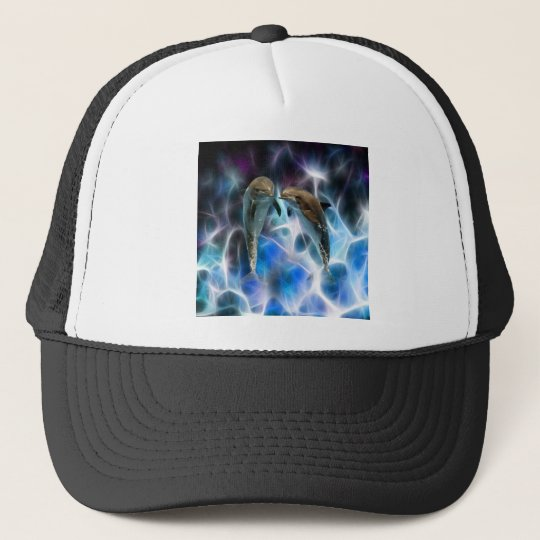 Dolphins and fractal crystals trucker hat