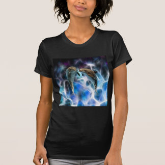 Dolphins and fractal crystals t-shirts