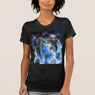 Dolphins and fractal crystals tshirt