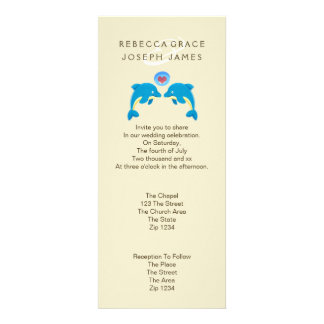 Dolphins And Love Heart Bubble Wedding Personalized Invitations