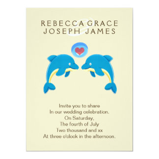 "Dolphins And Love Heart Bubble Wedding 6.5"" X 8.75"" Invitation Card"