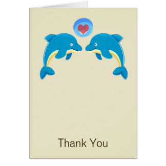 Dolphins And Love Heart Bubble Wedding Thank You Card