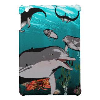 Dolphins and manta rays iPad mini cases