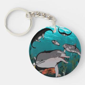 Dolphins and manta rays Single-Sided round acrylic keychain