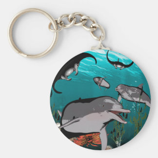 Dolphins and manta rays basic round button keychain