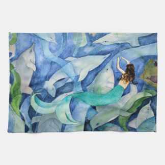 Dolphins and Mermaid party towel