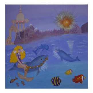 Dolphins and Mermaid Play Together Poster