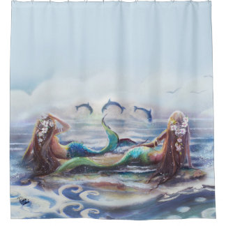 Dolphins And Mermaids Shower Curtain