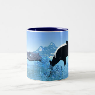 Dolphins and Orca's Breaching Mug