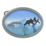 Dolphins and Orca's Oval Belt Buckles
