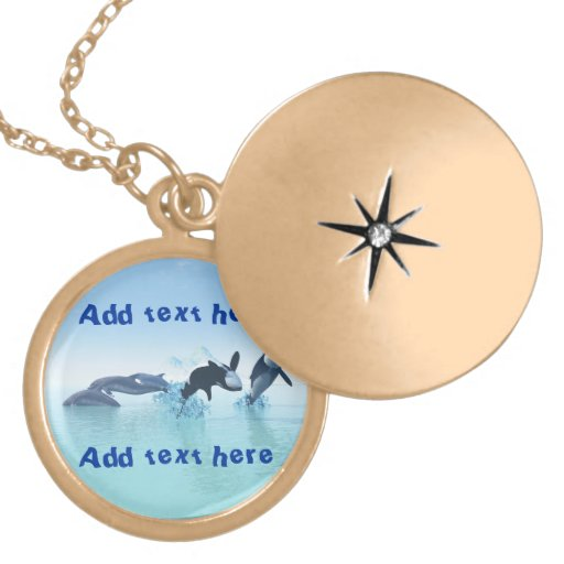 Dolphins and Orca's Round Locket Necklace