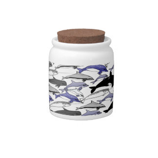 Dolphins and Orcas Swimming Pattern Candy Jar