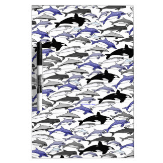 Dolphins and Orcas Swimming Pattern Dry Erase Board