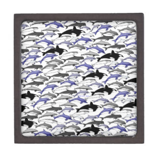 Dolphins and Orcas Swimming Pattern Gift Box