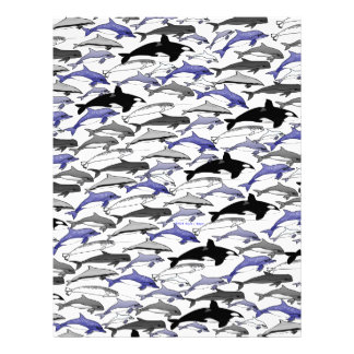 Dolphins and Orcas Swimming Pattern Letterhead