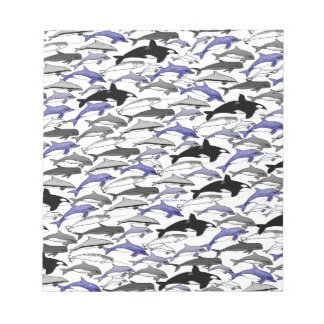 Dolphins and Orcas Swimming Pattern Notepad