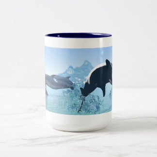 Dolphins and Orca's Two-Tone Coffee Mug