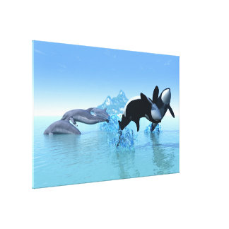 Dolphins and Orca's Wrapped Canvas Canvas Print