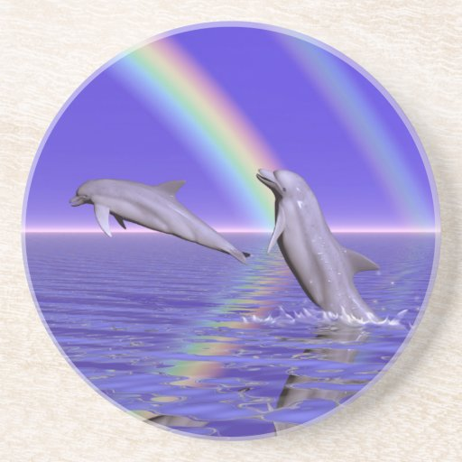 Dolphins and Rainbow Beverage Coasters