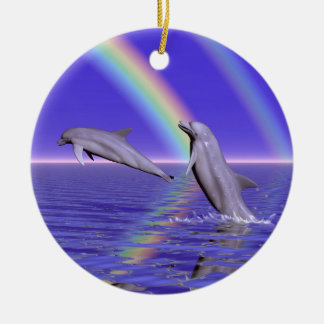Dolphins and Rainbow Ceramic Ornament