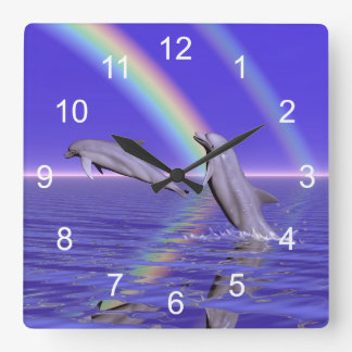 Dolphins and Rainbow Square Wall Clock