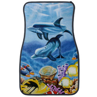 Dolphins and Tropical Fish Art Car Floor Mat