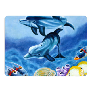 Dolphins and Tropical Fish Art Card