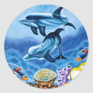 Dolphins and Tropical Fish Art Classic Round Sticker