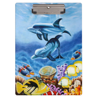 Dolphins and Tropical Fish Art Clipboard