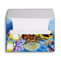 Dolphins and Tropical Fish Art Envelope