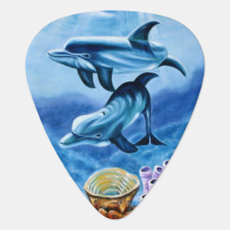Dolphins and Tropical Fish Art Guitar Pick