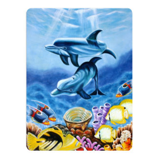 "Dolphins and Tropical Fish Art 6.5"" X 8.75"" Invitation Card"