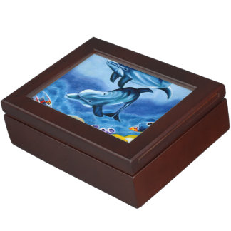 Dolphins and Tropical Fish Art Keepsake Boxes