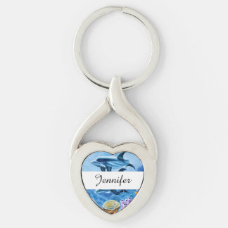 Dolphins and Tropical Fish Art Keychain