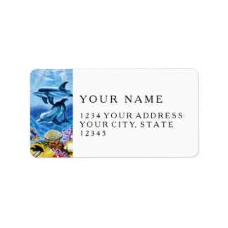 Dolphins and Tropical Fish Art Label