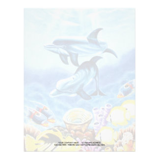 Dolphins and Tropical Fish Art Letterhead