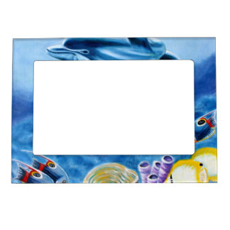 Dolphins and Tropical Fish Art Magnetic Picture Frames