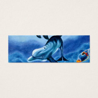 Dolphins and Tropical Fish Art Mini Business Card