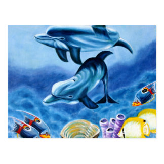 Dolphins and Tropical Fish Art Postcard