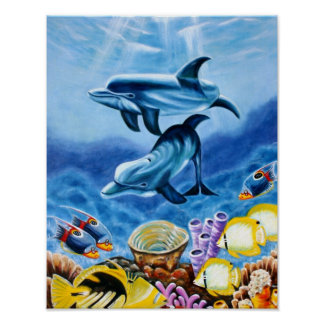 Dolphins and Tropical Fish Art Poster