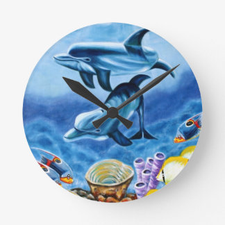 Dolphins and Tropical Fish Art Round Clock