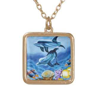 Dolphins and Tropical Fish Art Square Pendant Necklace