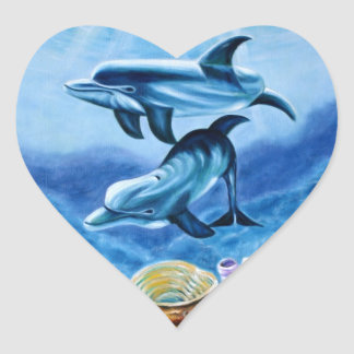 Dolphins and Tropical Fish Art Heart Sticker