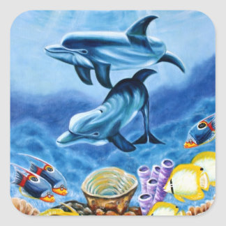 Dolphins and Tropical Fish Art Square Sticker